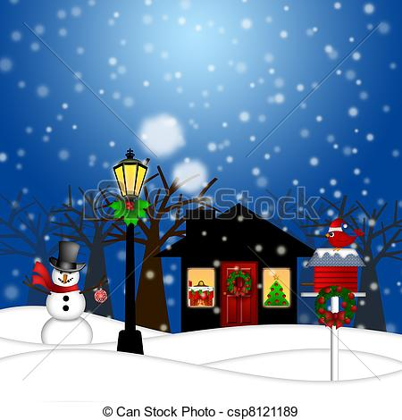 House with Lamp Post Snowman and Birdhouse Christmas Decoration in Snowing  Winter Scene Landscape Illustration.
