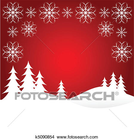 Red Christmas Snow Scene Clipart.