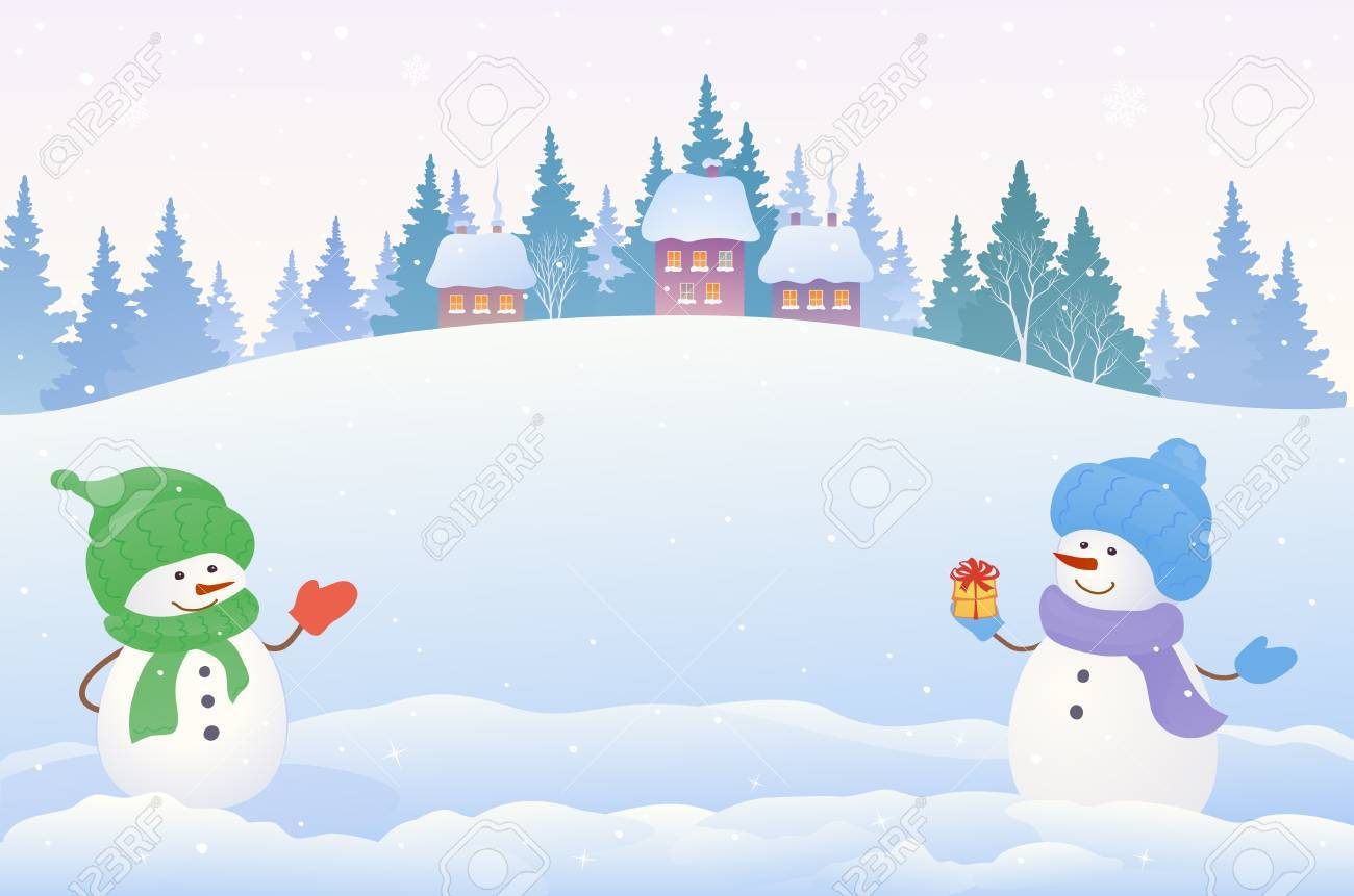 Vector drawing of a Christmas snow scene with two cute snowmen.