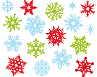 Items similar to 24 Snowflakes Clipart, Colorful Rainbow Color.