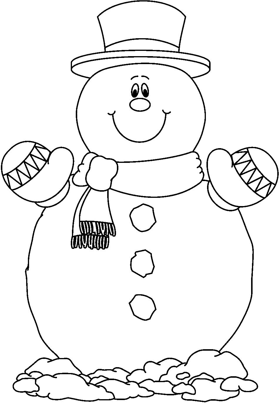 233 Snowman Black And White free clipart.