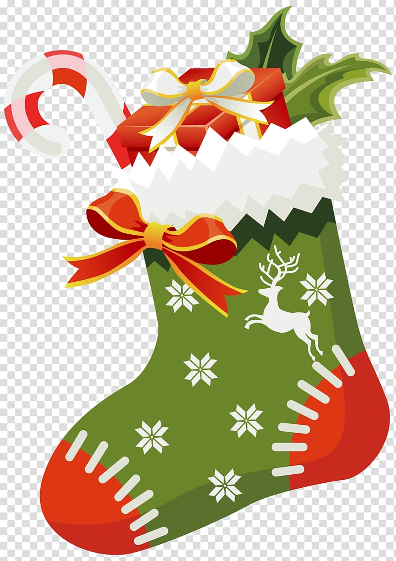 Green, white, and red Christmas sock illustration, Christmas ing.