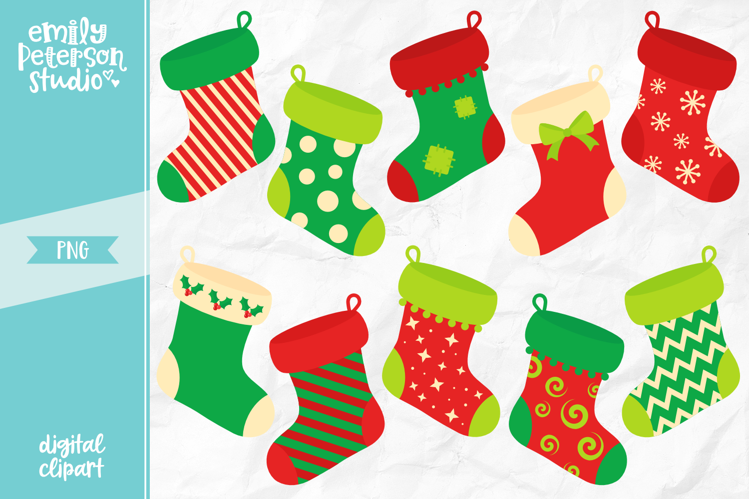 Christmas Stockings Clipart Illustration PNG.