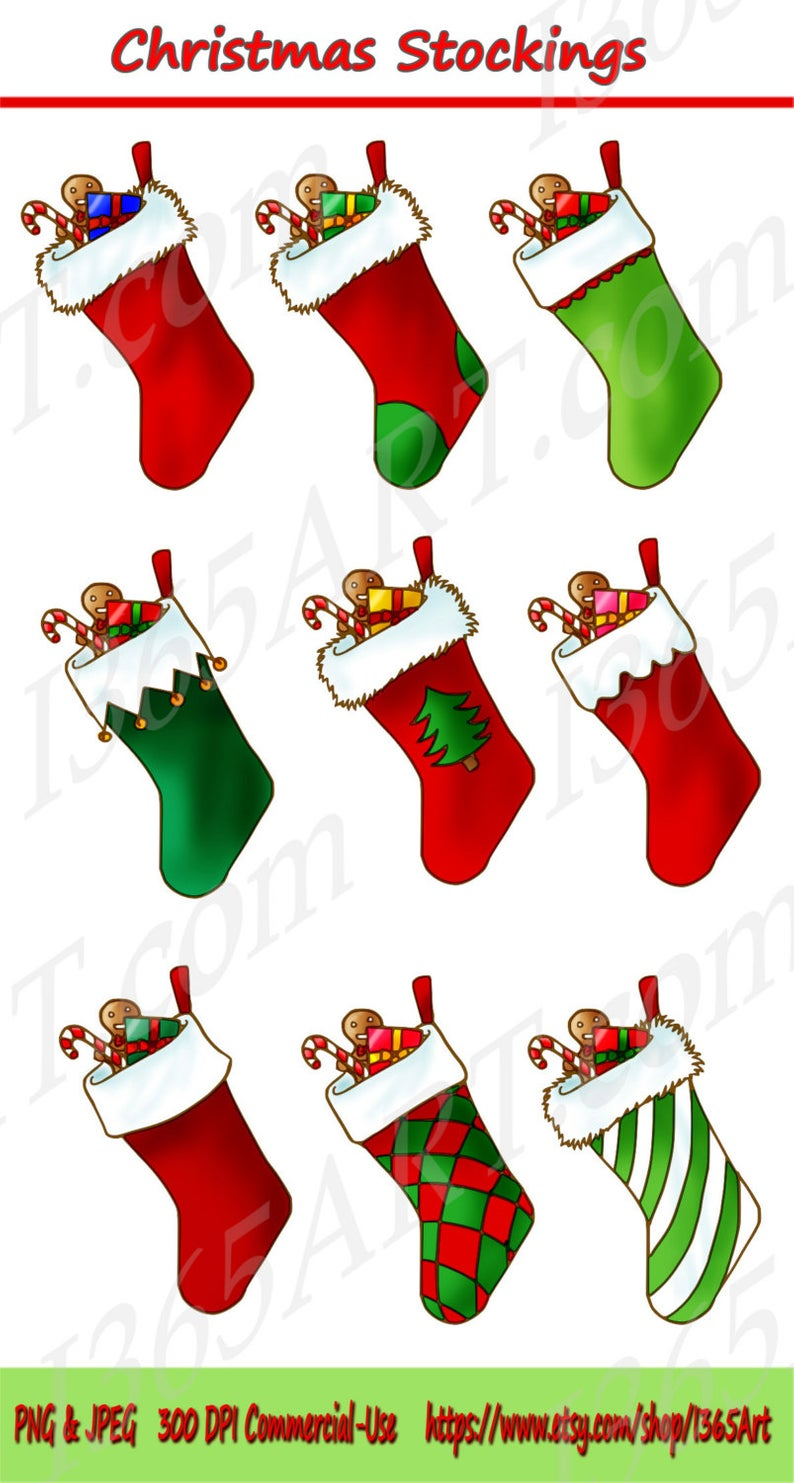 50% OFF Christmas Stocking Clipart, Christmas Stocking Clip art,  Scrapbooking, Invitation, Seasonal Holiday Sock, Gifts, PNG JPEG Commercial.