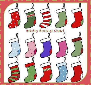 Christmas Stockings / Holiday Stockings {Christmas Clipart}.