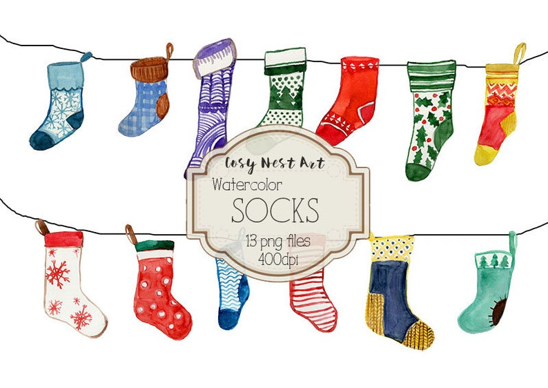 Socks watercolor clipart, christmas sock clipart, winter clipart, Socks  watercolor, Instant Download.