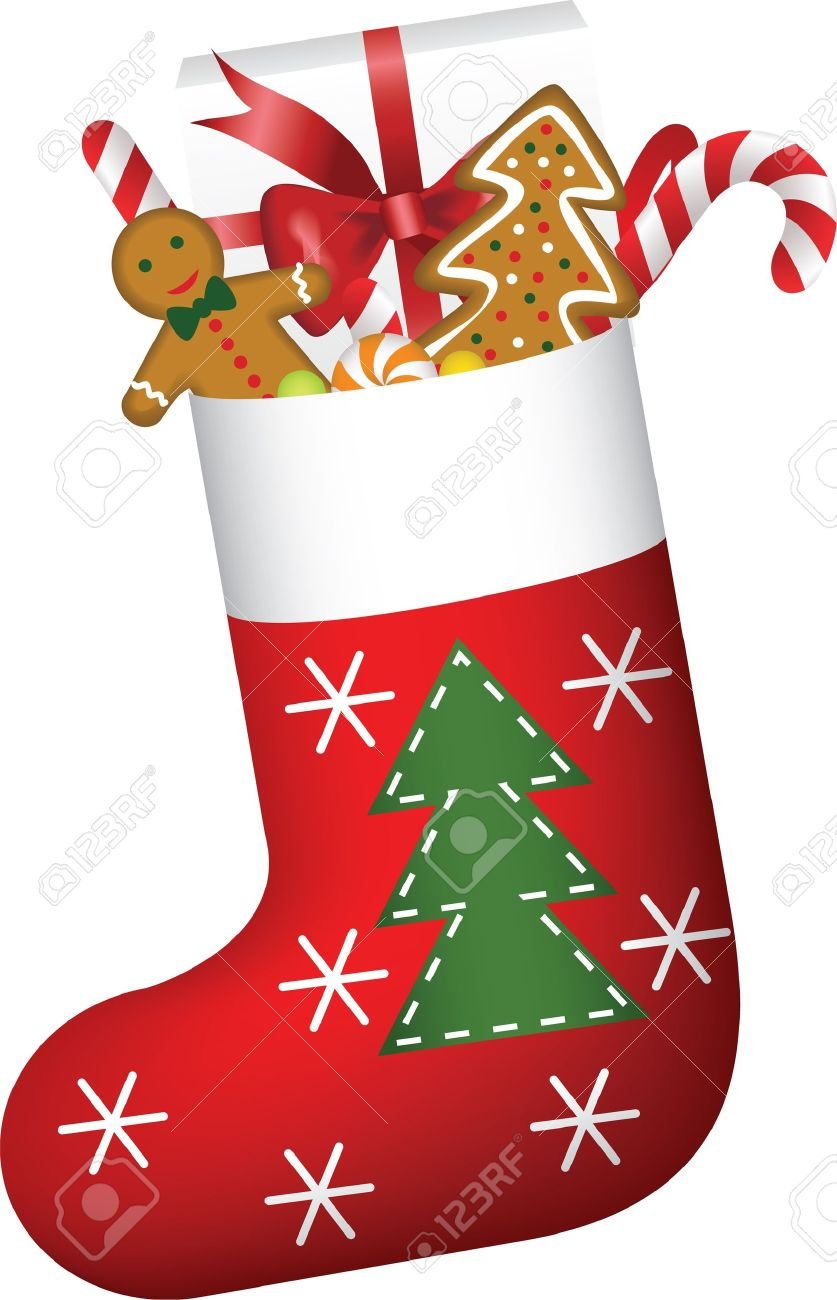 Christmas sock full of candies, cookies and gift.