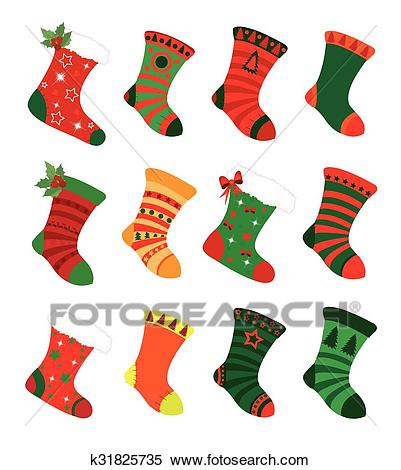 Christmas socks Clipart.