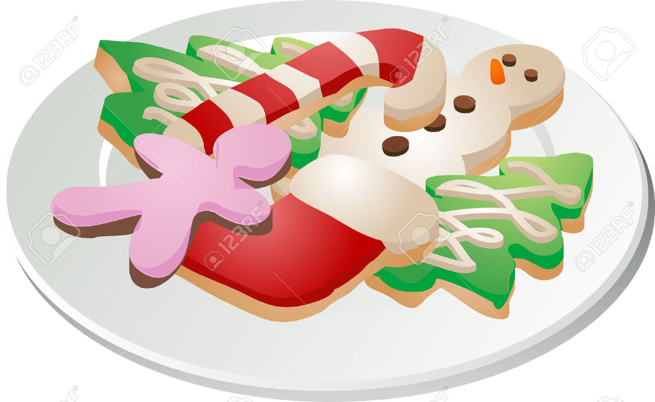 Assorted Christmas Cookies Arranged On A Plate Isometric.