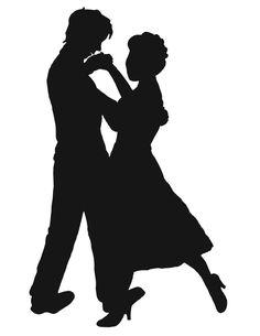 Couple Dance Spin Dancing Silhouette Ceramic Ornament.