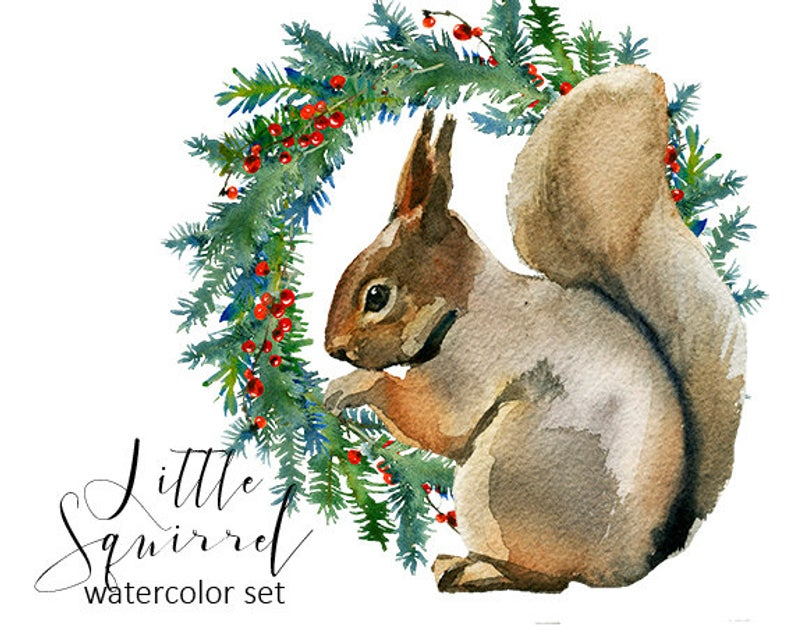 Squirrel Christmas Watercolor Clipart Fur Trees PNG Christmas Winter Forest  Landscape Nursery Decor Children Clip Art Collection Printables.