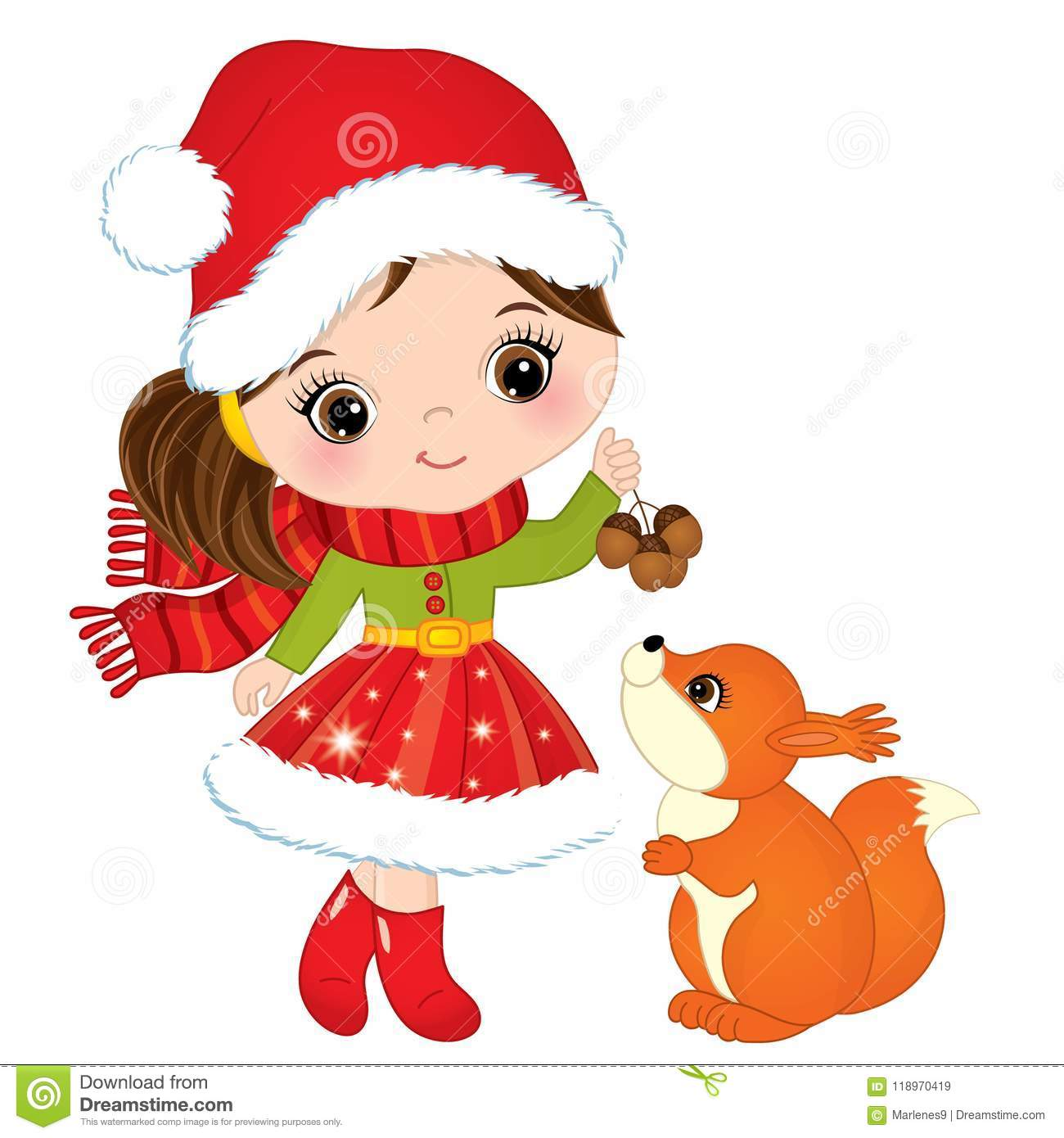 Vector Cute Little Girl With Squirrel Stock Vector.