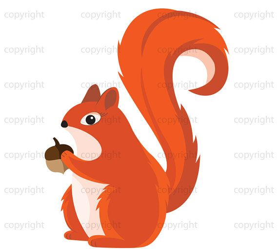 Squirrel Clipart Printable Art.
