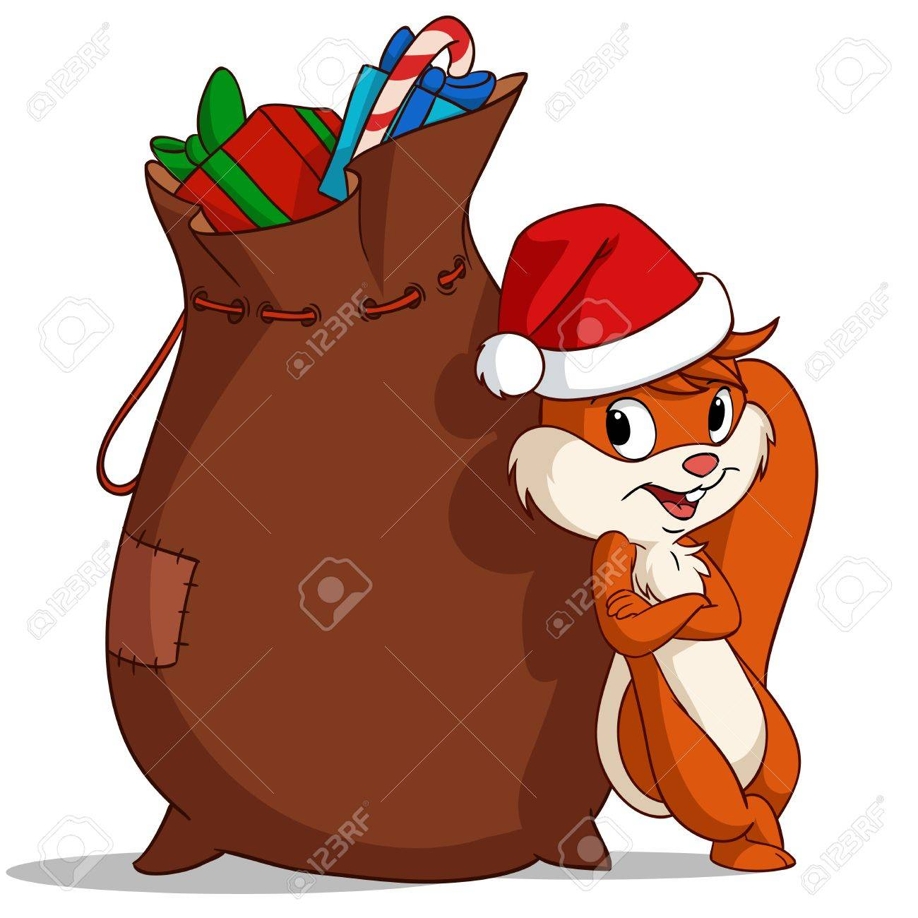 Cartoon christmas squirrel with bag of gift..