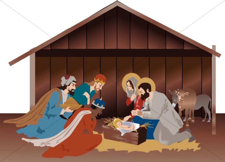 Nativity Scene in the Stable.