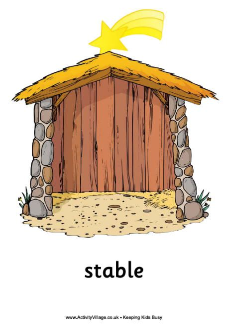 Nativity poster, stable.