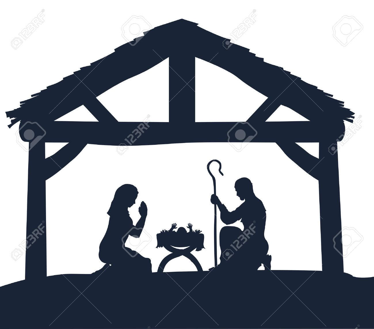Traditional Christmas Nativity Scene of baby Jesus in the manger...