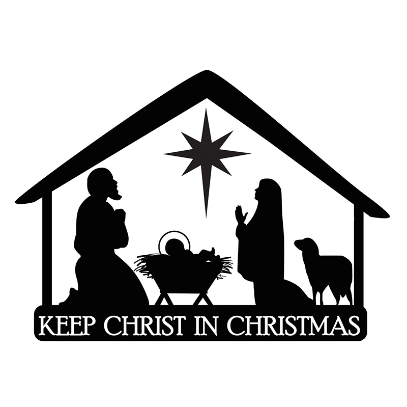 Nativity Stable Christmas Auto Magnet.