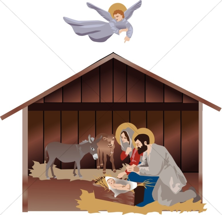 Nativity Scene with Guiding Angel.