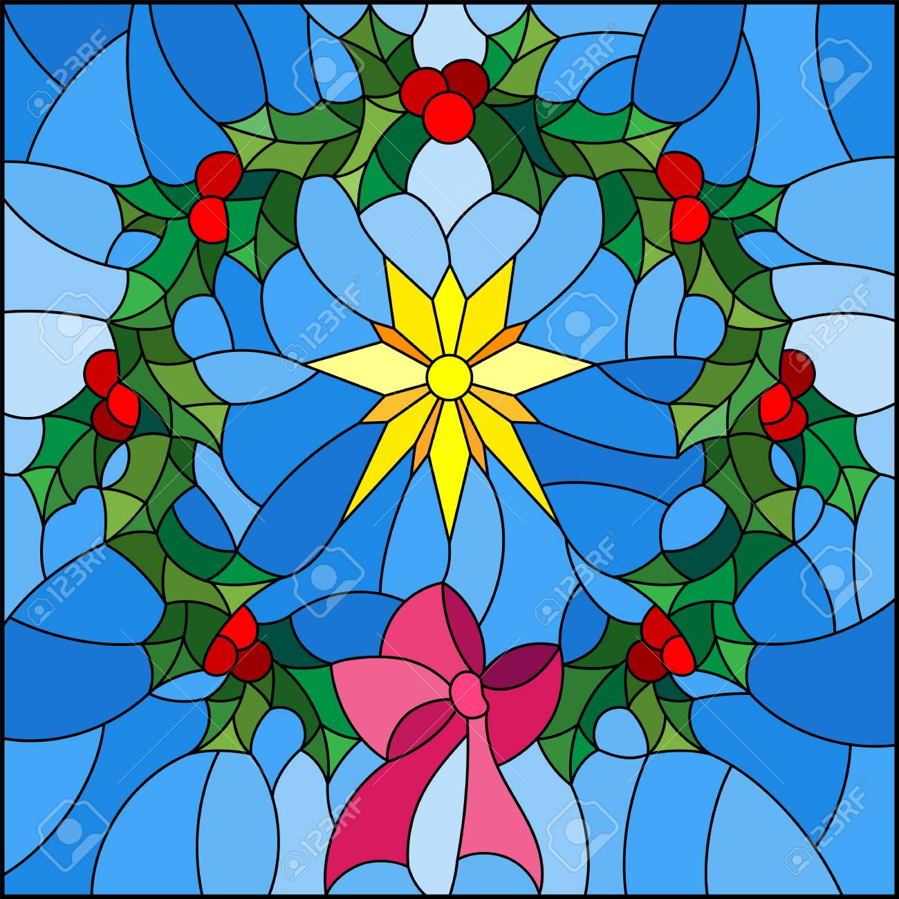 Illustration in stained glass style wreath of Holly and Christmas...