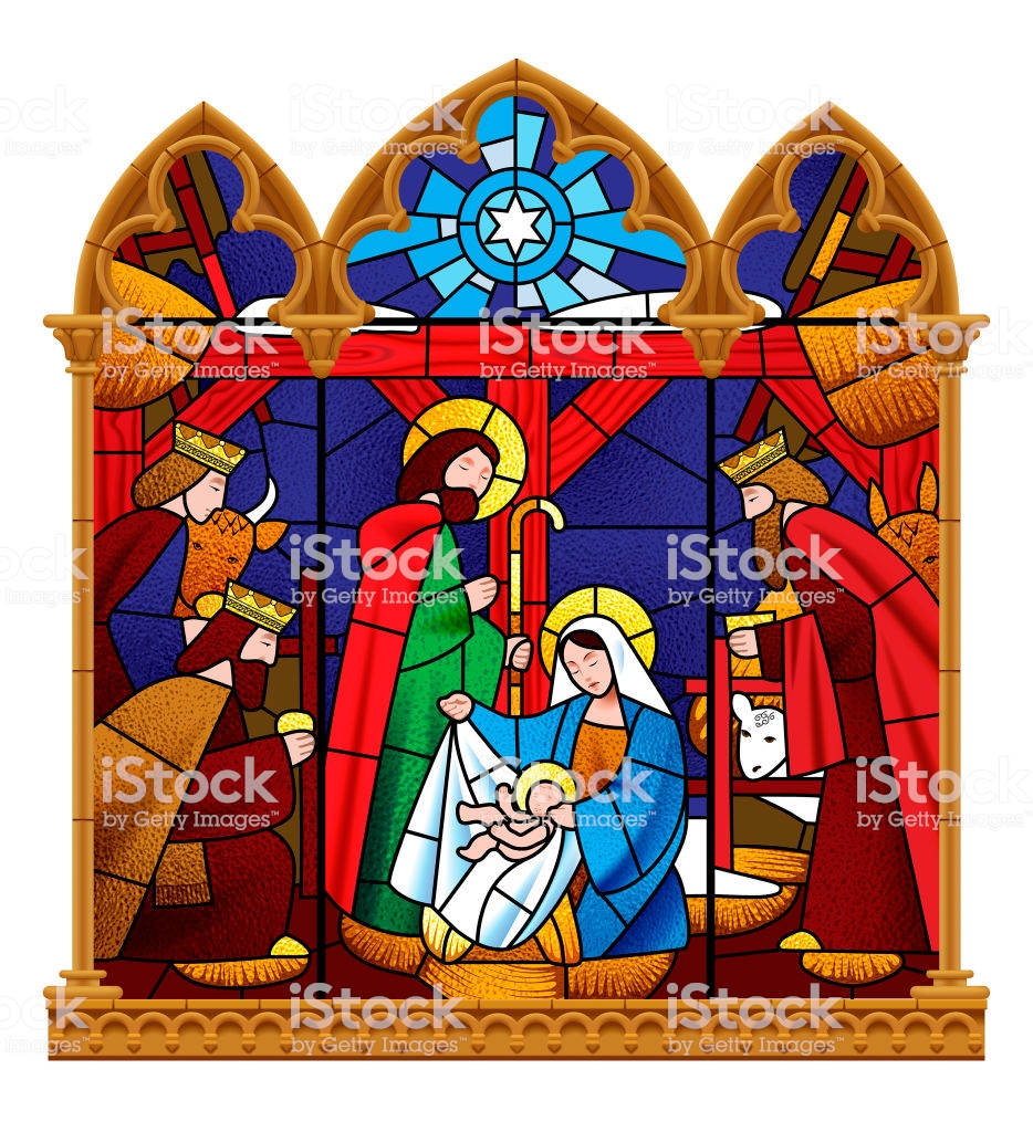 Stained Glass Window Depicting Christmas Scene In Gothic Frame.