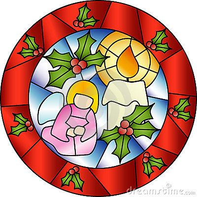 Christmas stained glass decoration by Stefaniav, via Dreamstime.
