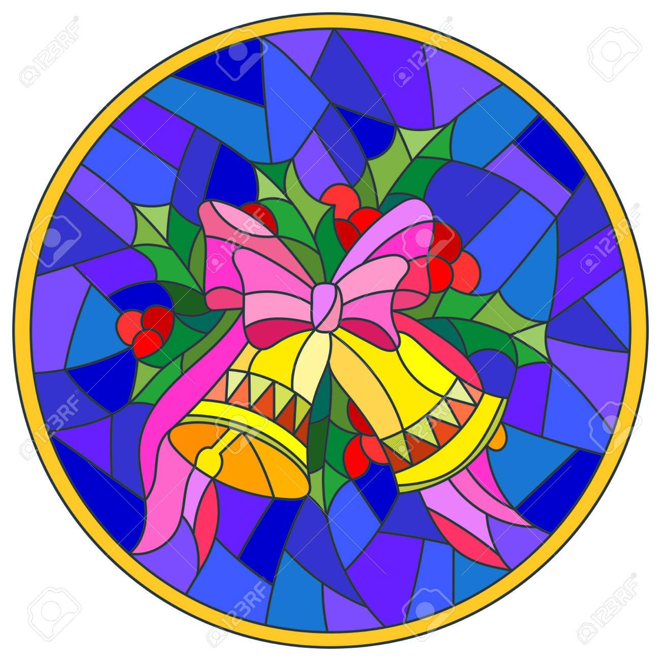 Illustration in stained glass style with Christmas bells, Holly...