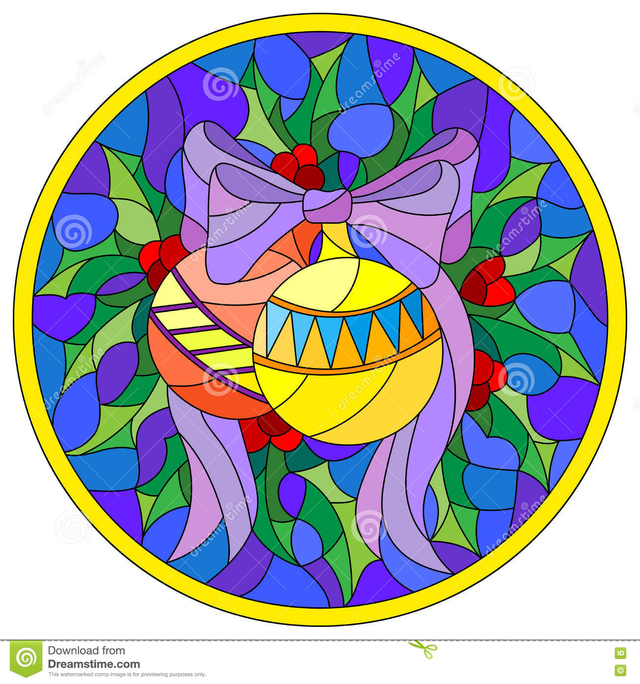 Stained Glass Illustration With Christmas Balls In The Shape Of A.