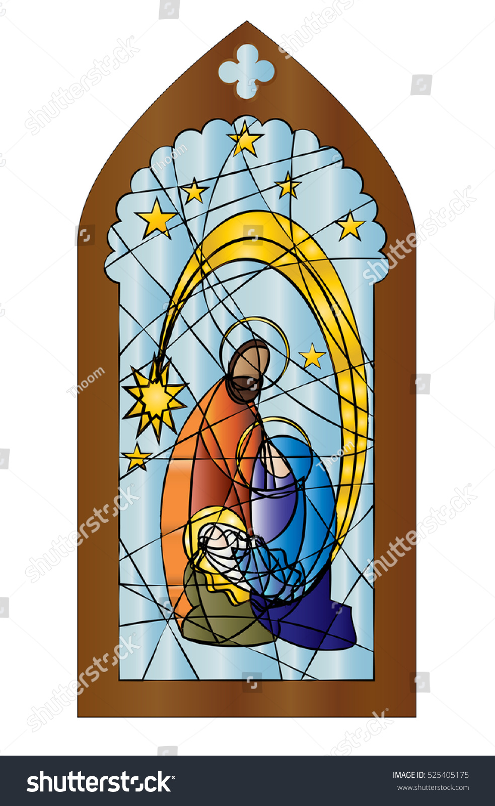 Christmas Nativity Religious Church Stained Glass Stock Vector.
