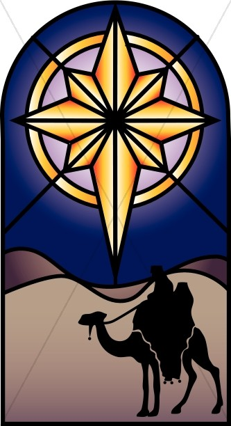 Stained Glass Nativity Star Clipart.
