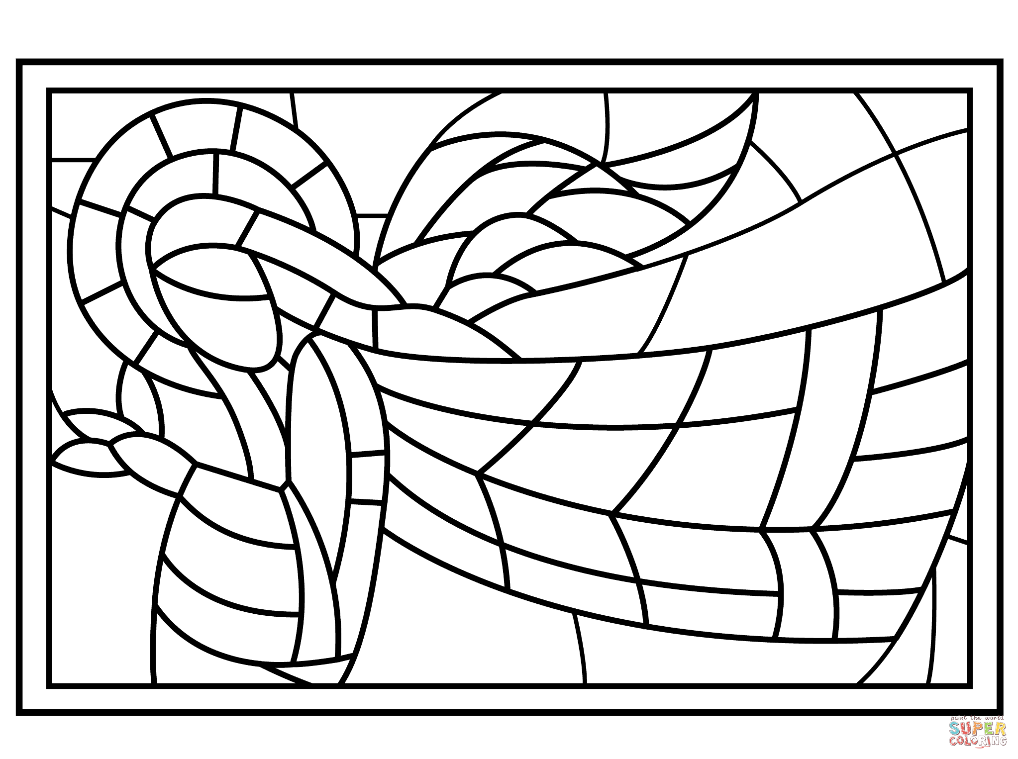 Christmas Stained Glass with Angel coloring page.