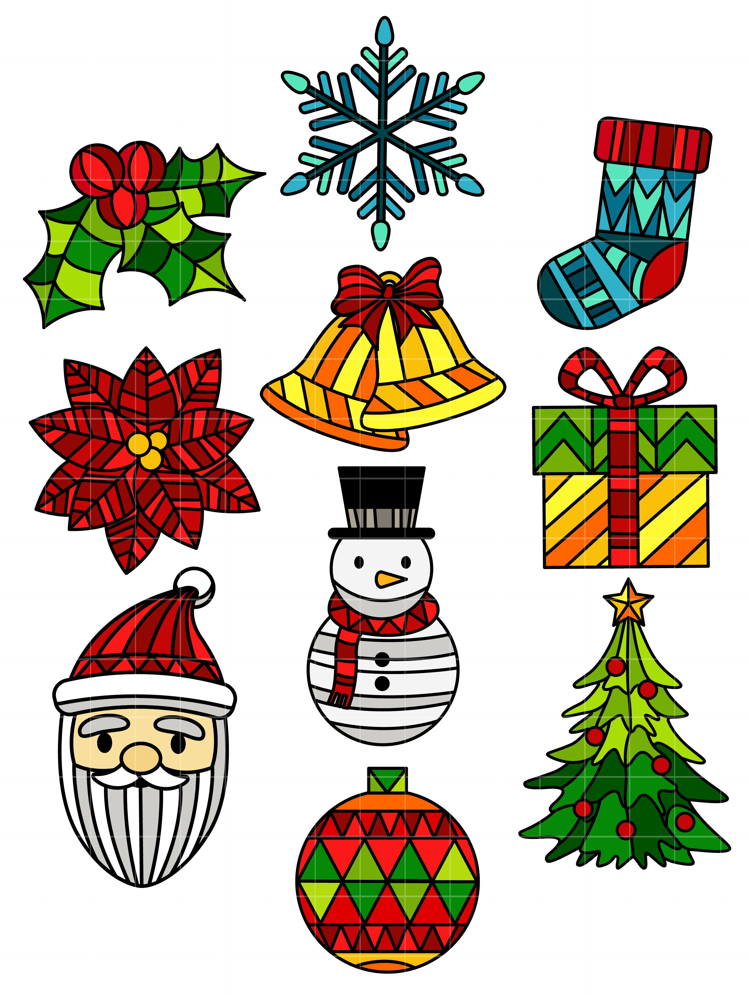 Stained Glass Christmas Set Semi Exclusive Clip Art Set For.