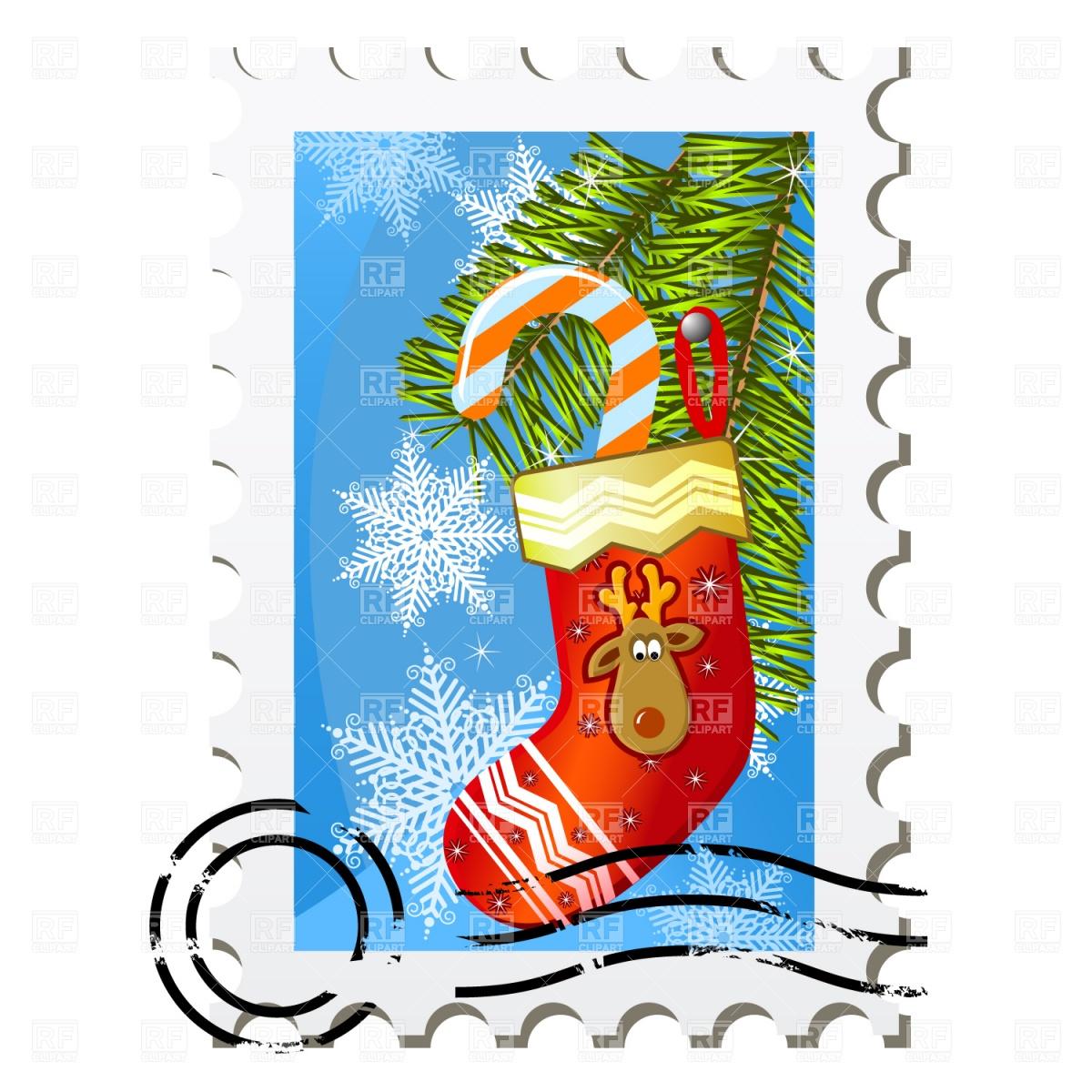 Christmas stamp Stock Vector Image.
