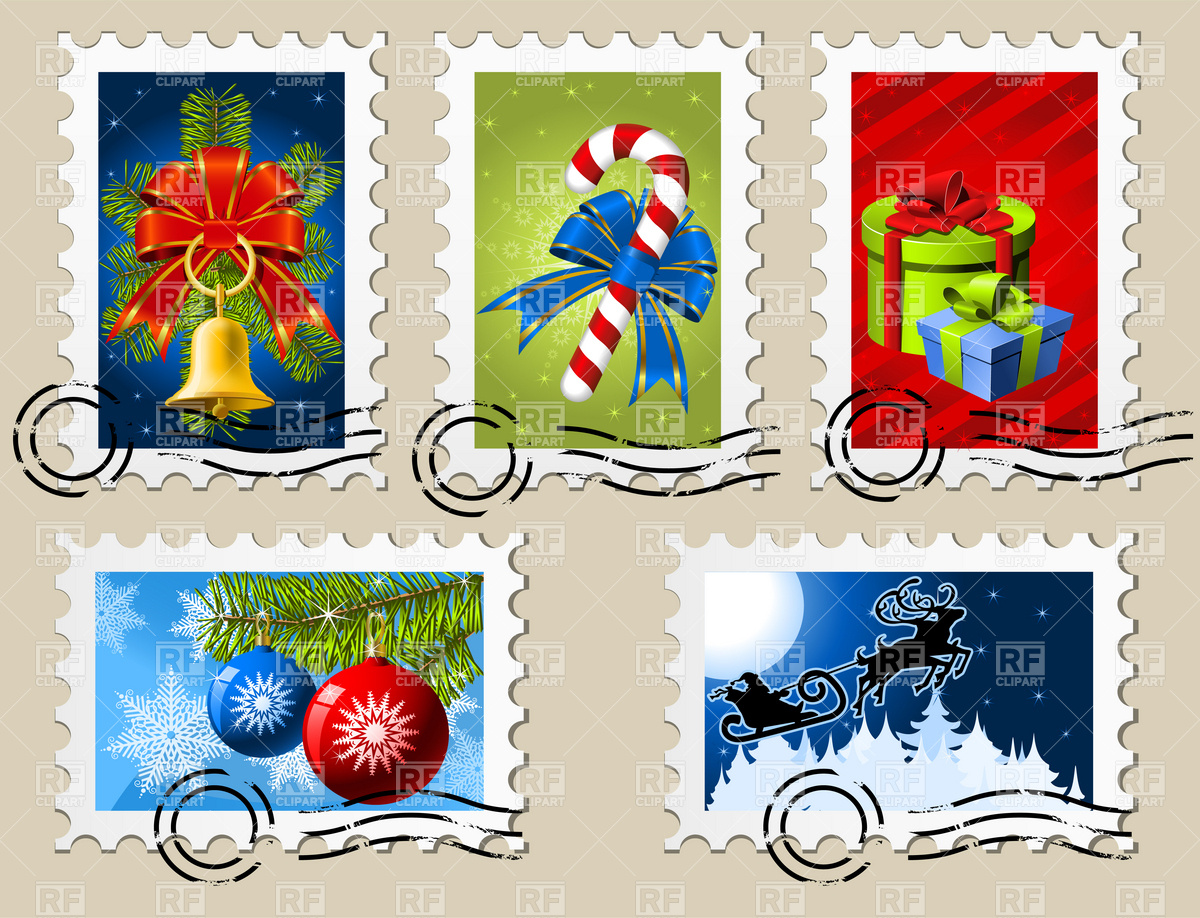 Christmas postage stamps Stock Vector Image.