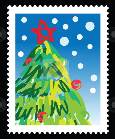 Christmas stamp stock vector.
