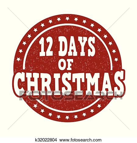 12 Days of Christmas stamp Clipart.