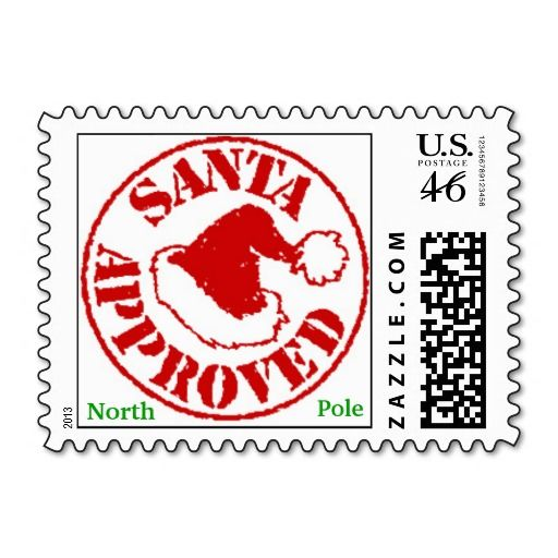 SANTA APPROVED Christmas Stamps from North Pole.