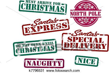 Santas Christmas Stamps Clipart.