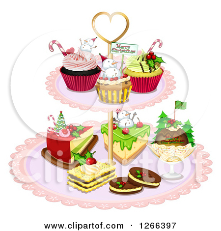 Clipart of Christmas Desserts on a Stand.