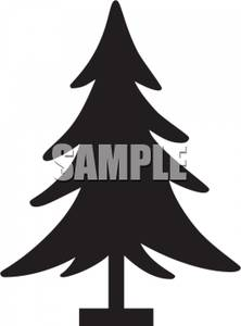 Silhouette of a Christmas Tree In a Tree Stand.