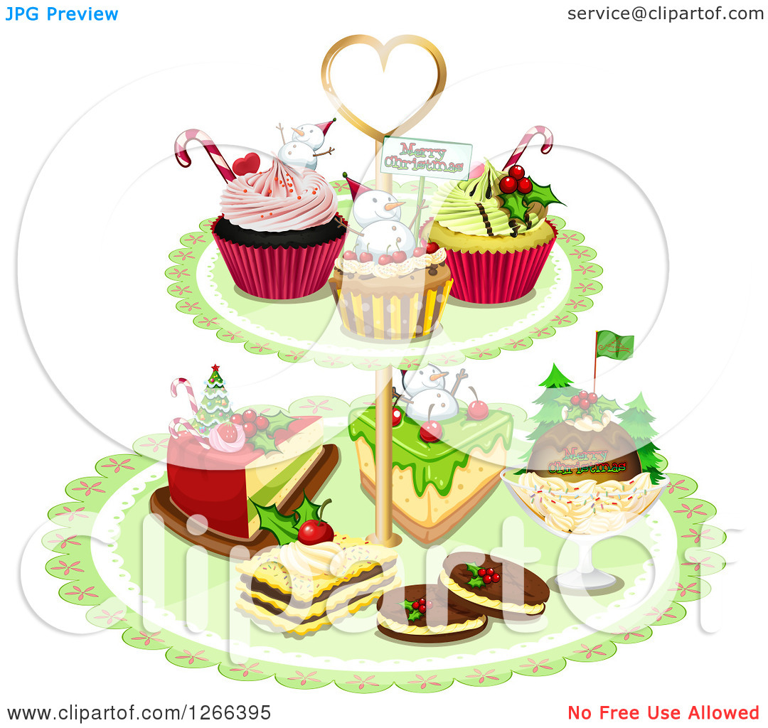 Clipart of Christmas Desserts on a Green Stand.