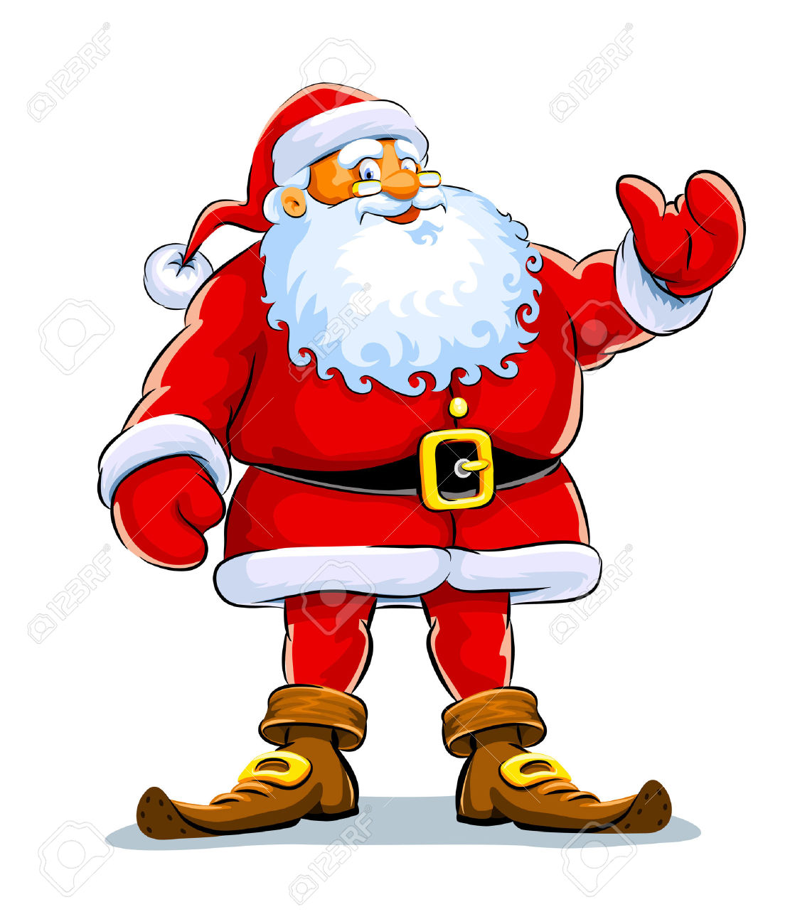 Christmas Santa Claus Stand With Lift Hand Illustration Isolated.