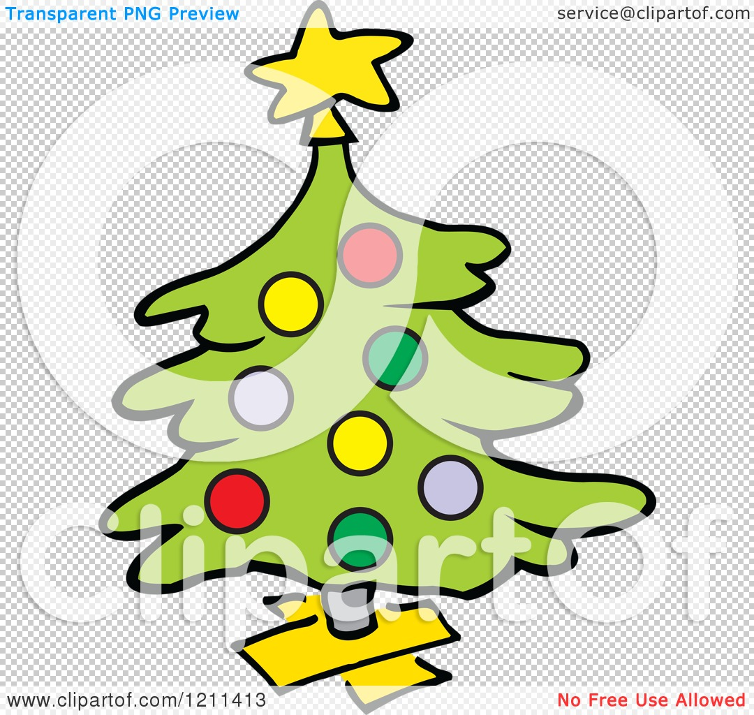 Cartoon of a Christmas Tree on a Wood Stand.