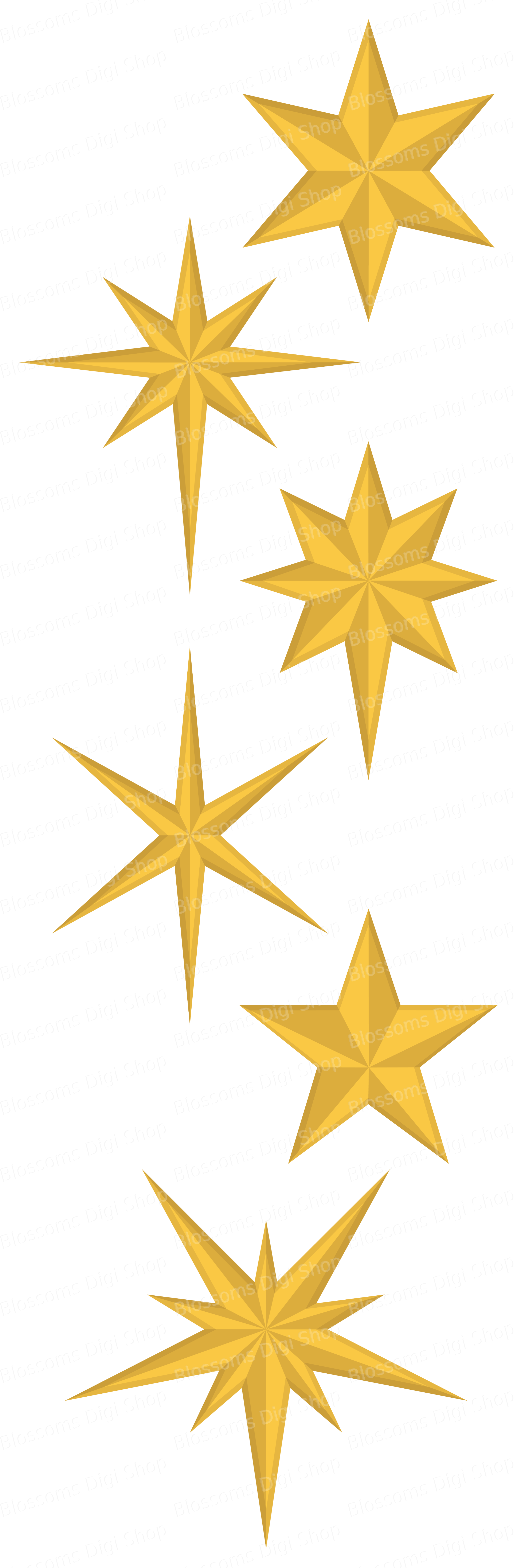 Christmas stars clipart, gold star clipart, star elements, star.