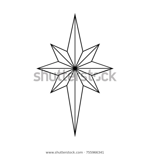 Star Outline Christmas Star Isolated On Stock Vector (Royalty Free.