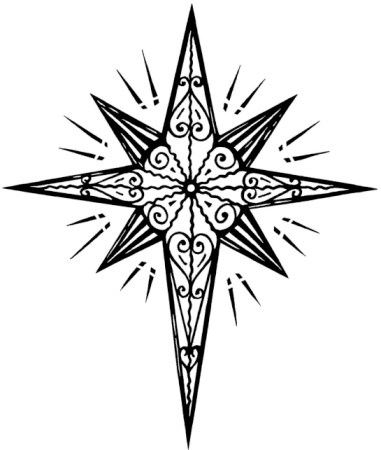 Clipart black and white christmas star collection.