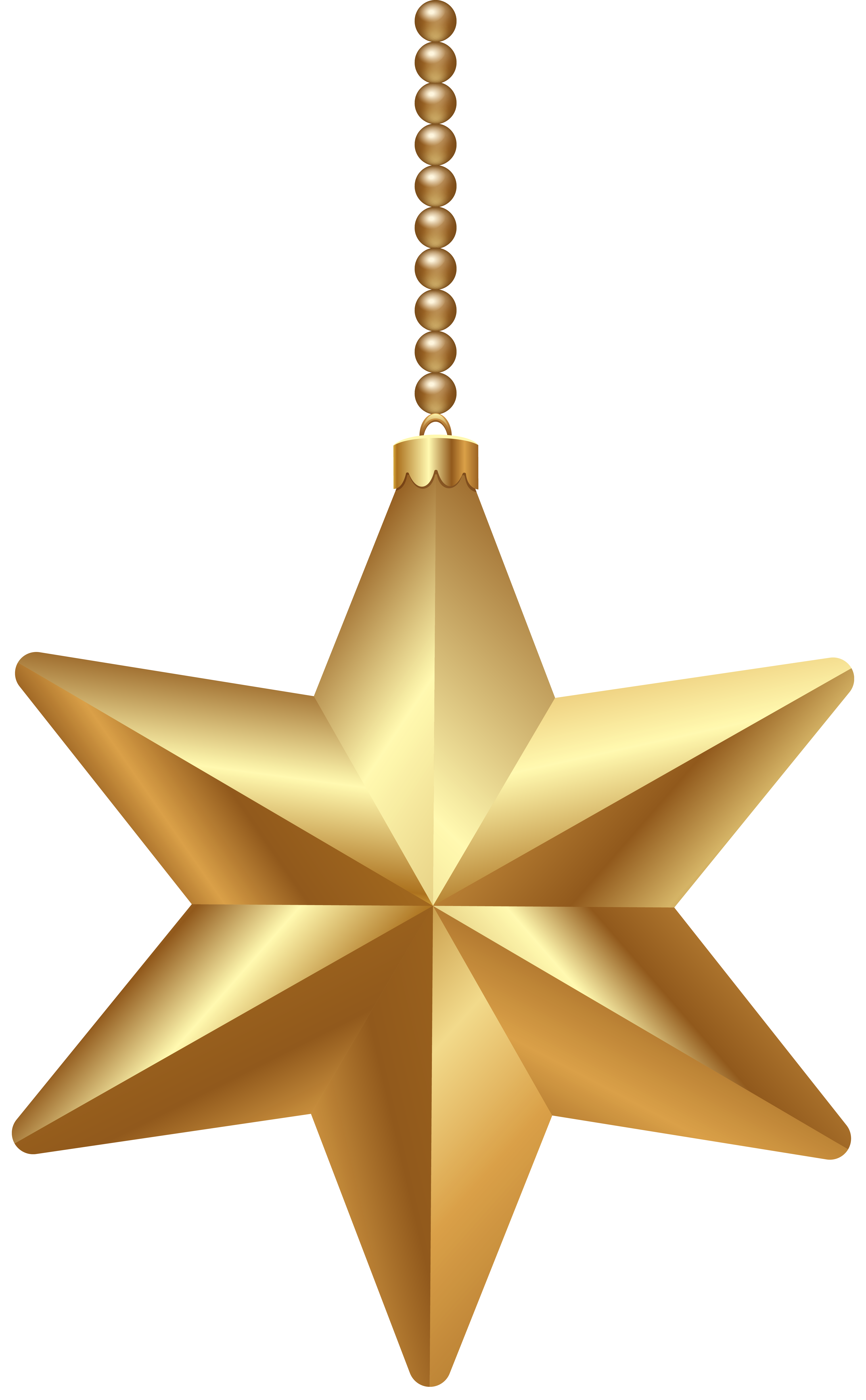 Gold Christmas Star PNG Clipart Image.