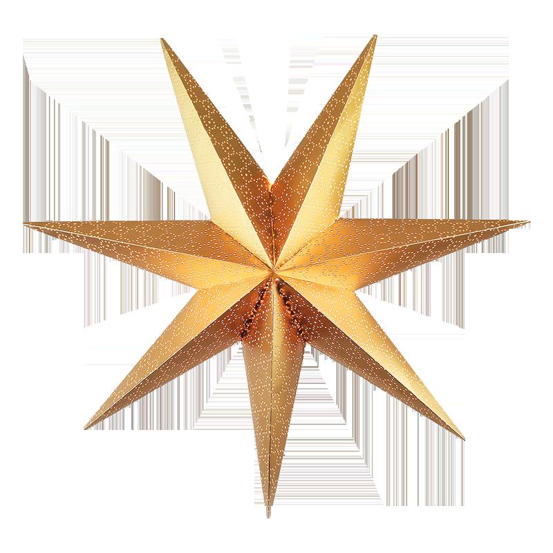 Gold Star transparent background Christmas image.