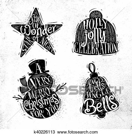 Christmas silhouettes star Clipart.