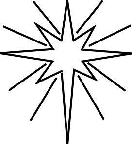 Christmas star ornament glowing coloring page for children.